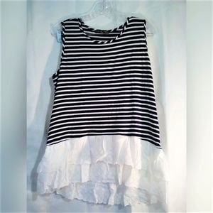 Kim & Cami Top Sz L Sleeveless Navy White Stripe
